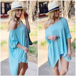 Spring Blue Dropped Shoulder Slouchy Soft Tunic